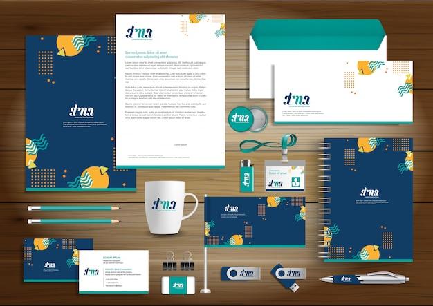 Diseño de identidad corporativa vector papelería. Vector Premium