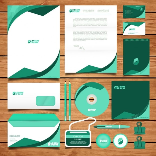 Diseño de la identidad corporativa verde vector gratuito