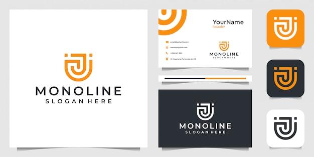 Diseño de illustraction del logotipo moderno de la letra u. bueno para negocios, empresa, tecnología moderna, internet, marca, publicidad y tarjetas de visita Vector Premium