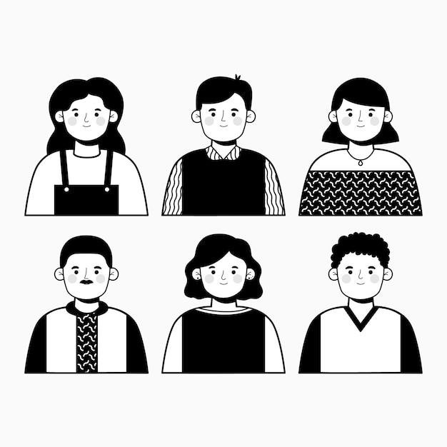 Diseño de ilustración de avatares de personas vector gratuito