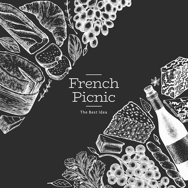 Diseño de ilustración de comida francesa Vector Premium