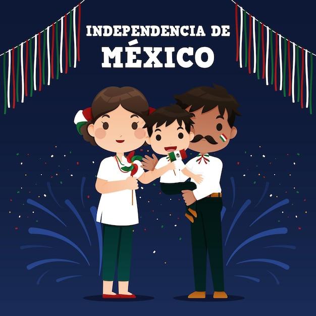 Diseño de ilustración del día de la independencia de méxico vector gratuito