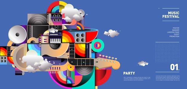 Diseño de ilustración de festival de música para fiesta y evento Vector Premium