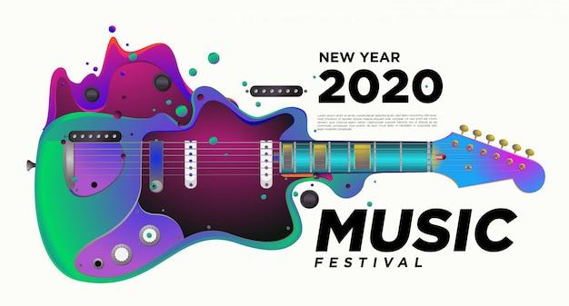 Diseño de ilustración del festival de música y guitarra para el evento de fiesta de año nuevo 2020. Vector Premium