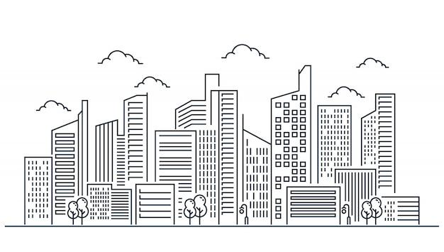 Diseño de ilustración de línea de ciudad Vector Premium