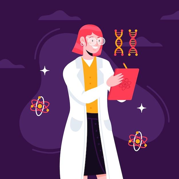 Diseño de ilustración con mujer científica vector gratuito