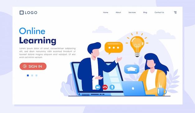 Diseño de ilustración de sitio web de página de destino de aprendizaje en línea Vector Premium