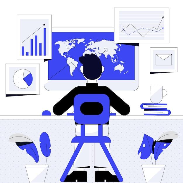 Diseño de ilustración de trabajo de comerciante Vector Premium