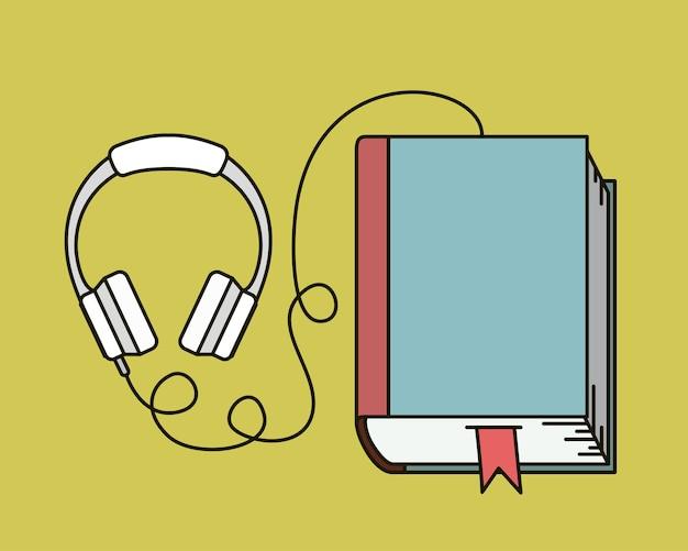 Diseño de ilustración de vector de icono de audio libro aislado Vector Premium