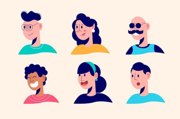 Diseño ilustrado de avatares de personas vector gratuito