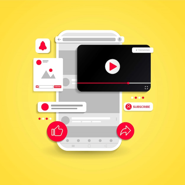 Diseño ilustrado de canal de youtube. Vector Premium