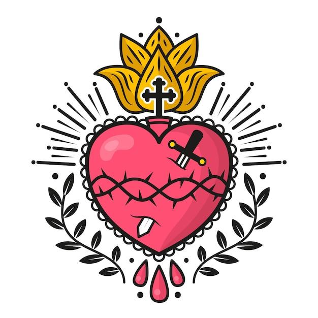 Diseño ilustrado del corazón sagrado vector gratuito