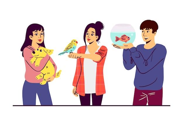 Diseño ilustrado de personas con diferentes mascotas vector gratuito