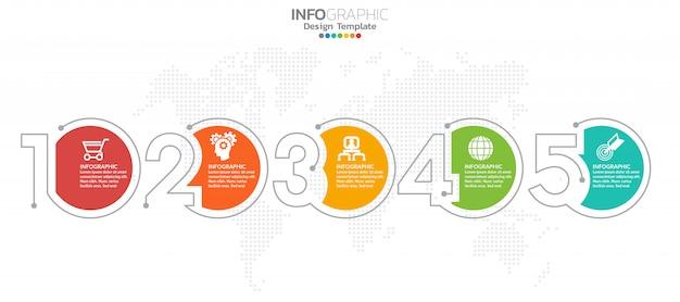 Diseño de infografía 5 pasos timeline Vector Premium