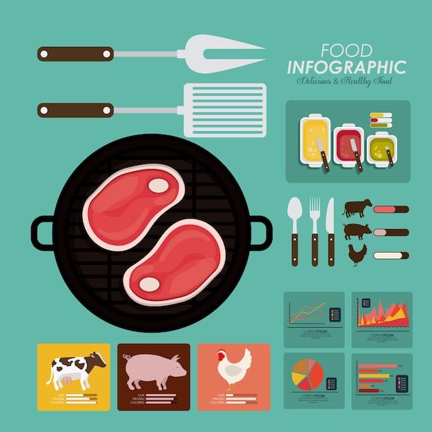 Diseño de infografía de alimentos Vector Premium