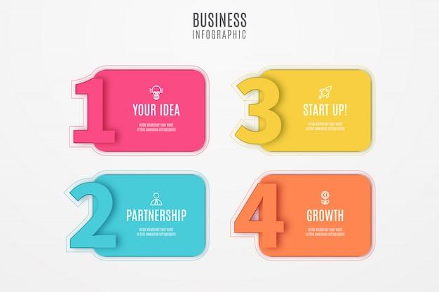 Diseño de infografía empresarial con números vector gratuito