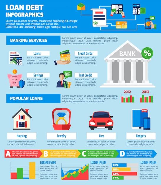 Diseño de infografías de deuda de préstamo vector gratuito