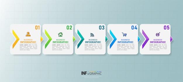 Diseño de infografías de la línea de tiempo de cinco pasos Vector Premium