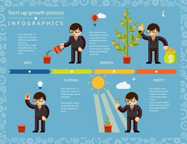 Diseño de infografías de línea de tiempo de negocios creativos enfatizando el concepto de árbol de plantación de empresario sobre fondo azul claro. vector gratuito