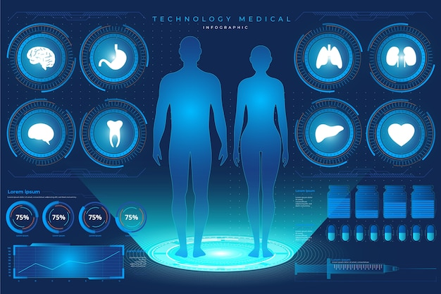 Diseño de infografías médicas tecnológicas. vector gratuito