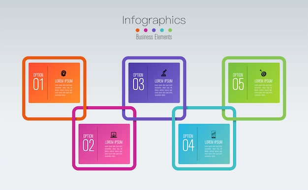 Diseño de infografías con pasos u opciones. Vector Premium