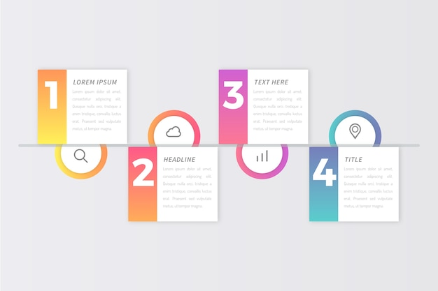 Diseño de infografías de pasos vector gratuito