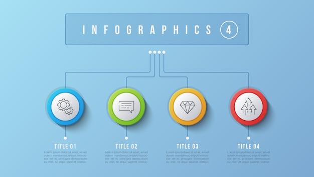 Diseño infográfico de 4 opciones, diagrama de estructura, presentación Vector Premium