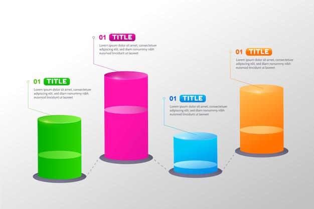 Diseño infográfico de barras circulares 3d vector gratuito