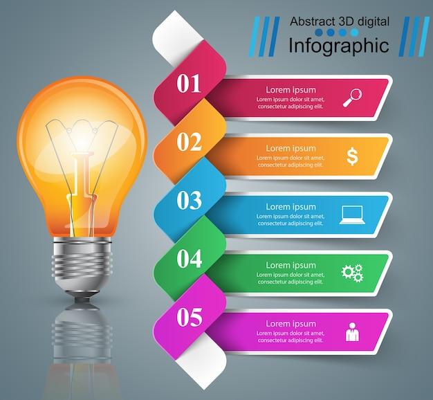 Diseño infográfico bombilla, icono de luz. Vector Premium