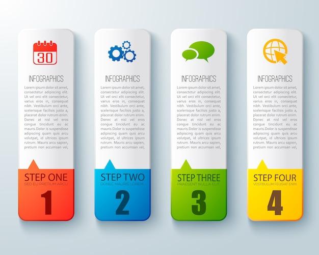 Diseño infográfico paso a paso con cuatro tablas verticales de cartón para tutorial empresarial plano vector gratuito