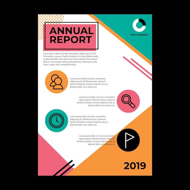 Diseño de informe anual con espacio de texto e íconos vector gratuito