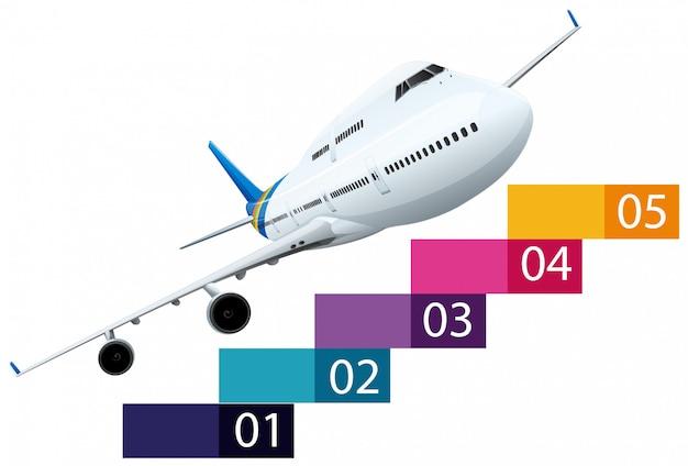Diseño infrographics con avión vector gratuito