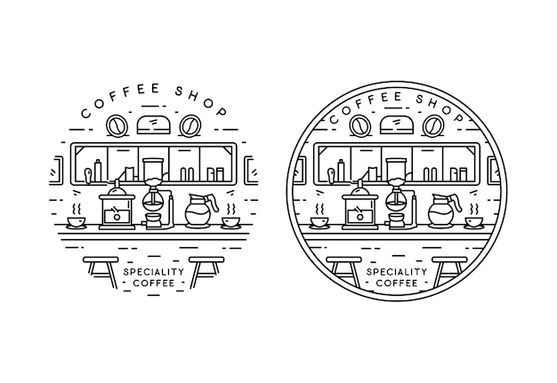 Diseño de insignia monoline de cafetería especializada Vector Premium