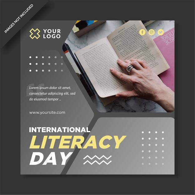 Diseño de instagram del día internacional de la alfabetización. Vector Premium