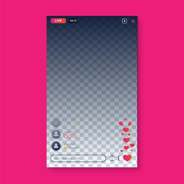 Diseño de interfaz de instagram de transmisión en vivo vector gratuito