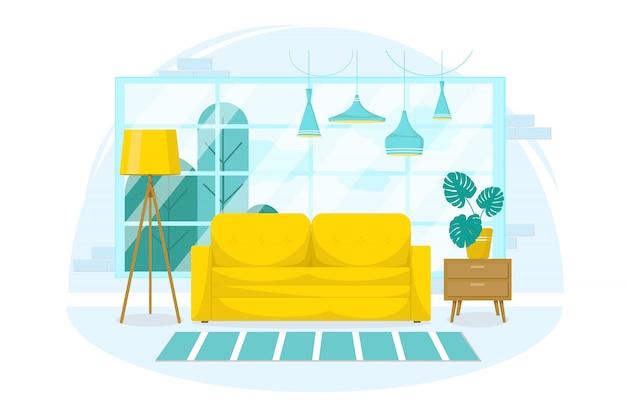 Diseño interior de una sala de estar con muebles, una gran ventana, un sofá amarillo, una lámpara de pie con flores y un soporte sobre un fondo blanco aislado. estilo plano azul pastel. ilustración Vector Premium