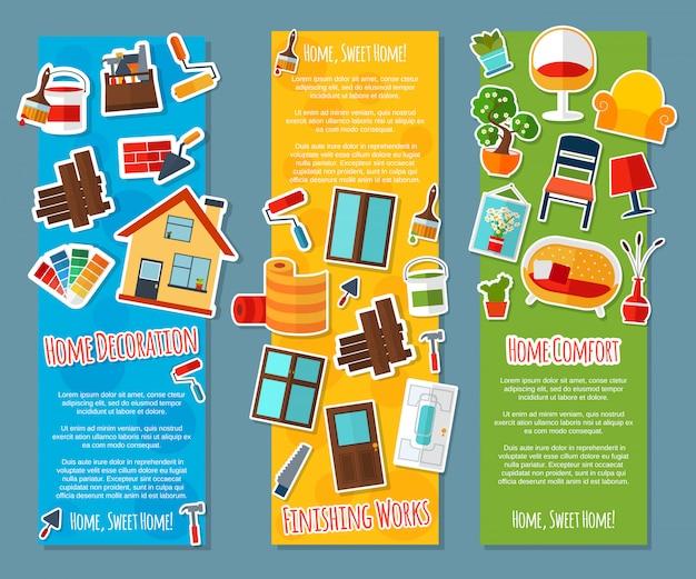 Diseño de interiores banners verticales vector gratuito