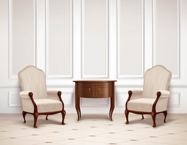 Diseño de interiores clásico vector gratuito