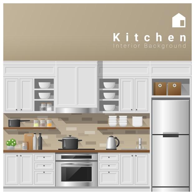 Diseño de interiores fondo de cocina moderna | Vector Premium