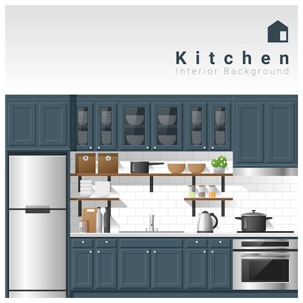 Diseño de interiores fondo de cocina moderna | Descargar Vectores ...