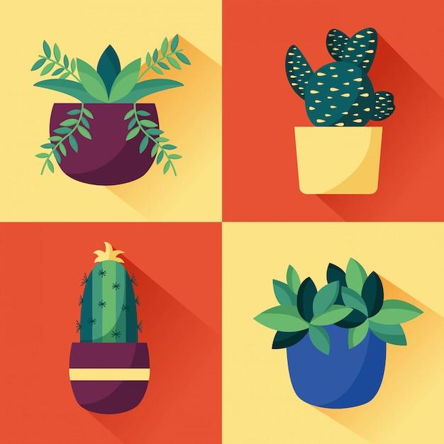 Diseño de interiores de plantas decorativas vector gratuito