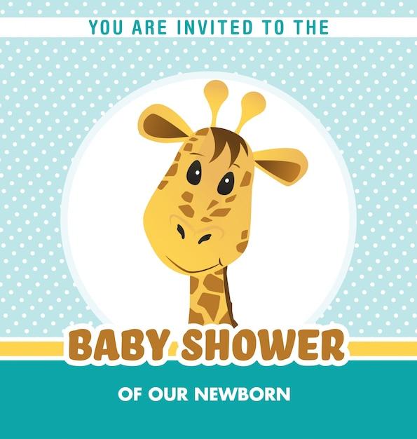Diseño De Invitación De Baby Shower Con Jirafa Vector Gratis