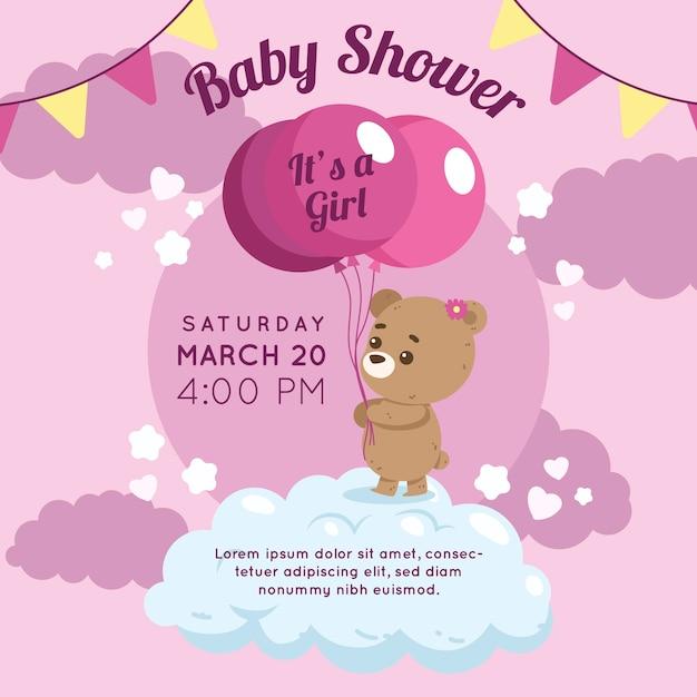 Diseño de invitación para baby shower de niña vector gratuito