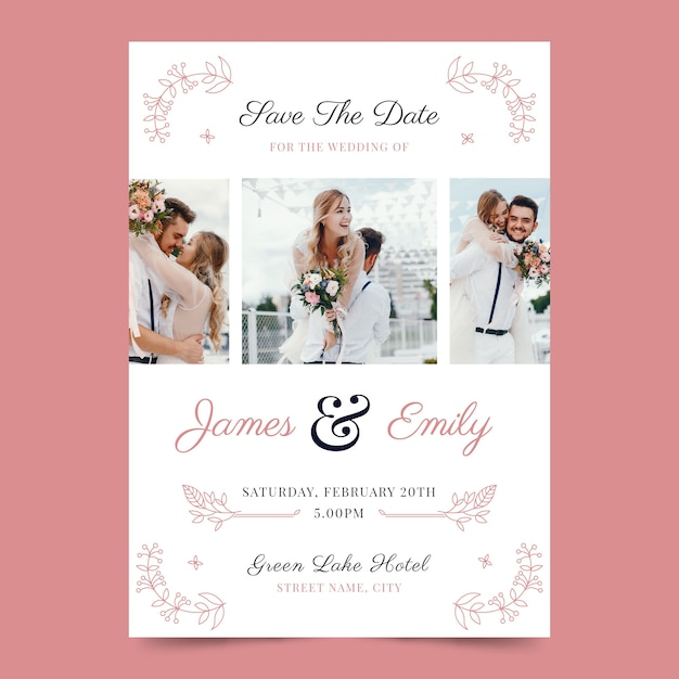 Diseño de invitación de boda con foto vector gratuito