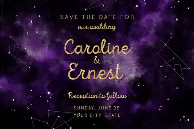 Diseño de invitación de boda galaxia acuarela vector gratuito