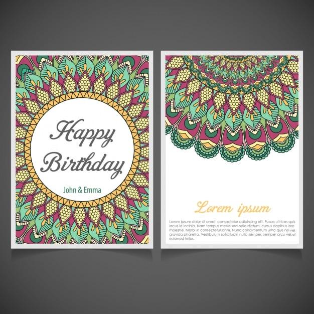 Diseño De Invitación De Cumpleaños Con Mandalas Vector