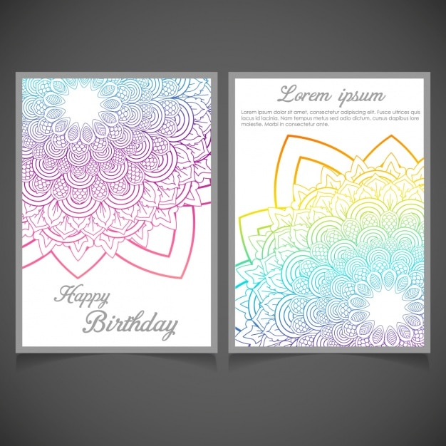Diseño De Invitación De Cumpleaños Con Mandalas Vector Gratis
