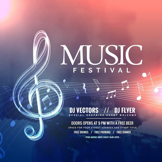 Diseño de la invitación del festival de música con notas vector gratuito