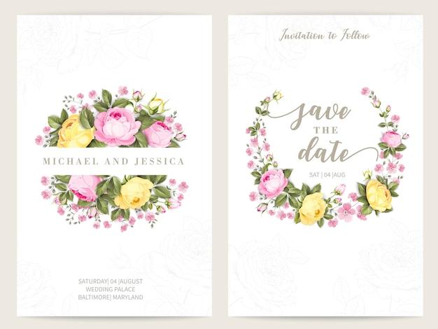 Diseño de invitación de paquete con rosas. colección de tarjetas de felicitación. vector gratuito
