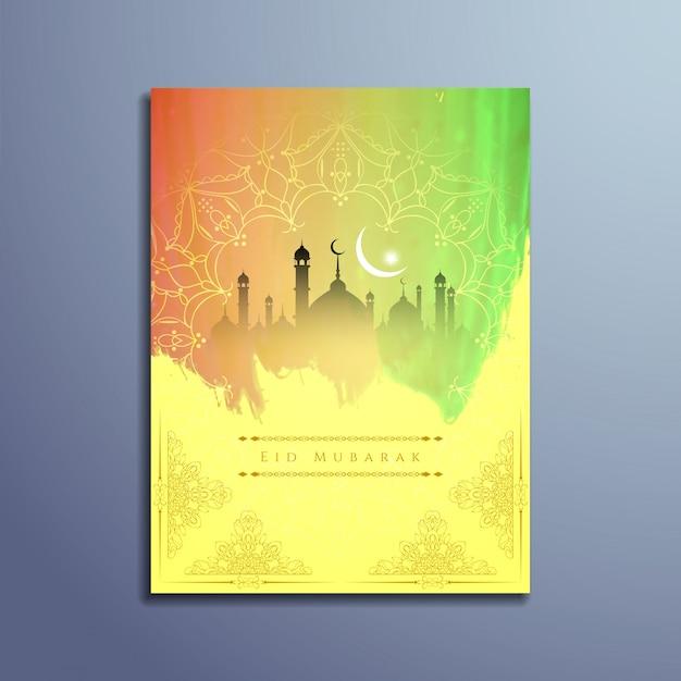 Diseño islámico de eid mubarak con colores luminosos Vector Gratis